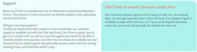 Support van Myjackpotcasino