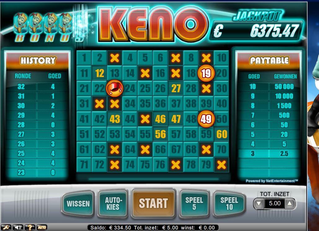 Online keno spelen met progressieve jackpot
