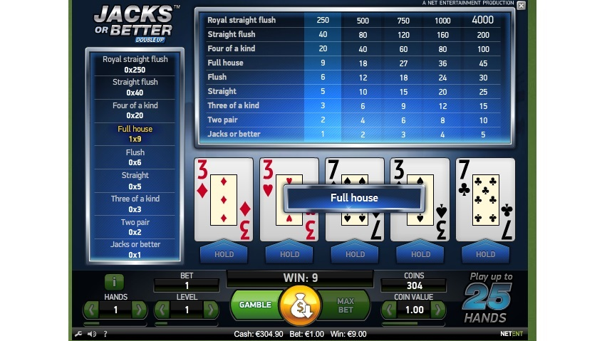Video poker variant Jacks or Better